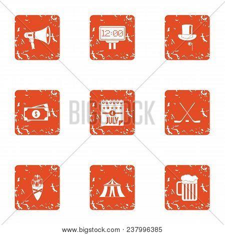 European Monetary Bank Icons Set. Grunge Set Of 9 European Monetary Bank Vector Icons For Web Isolat