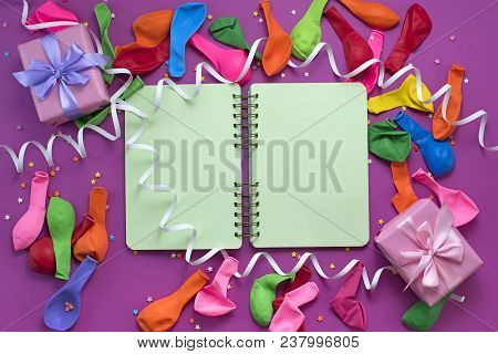 Festive Arrangement Gifts Balloons Streamers Notebook Saturation Of The Background Ultraviolet Top V
