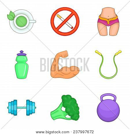 Robust Health Icons Set. Cartoon Set Of 9 Robust Health Vector Icons For Web Isolated On White Backg