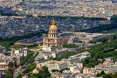 Aerial view of famous Les Invalides and typical parisian buildings as seen from Montparnasse Tower in Paris, France. poster