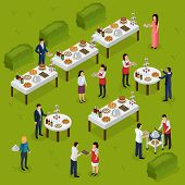 Catering isometric composition banquet at outdoor, feast tables, staff on green background vector illustration poster