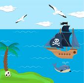 Pirate ship vector kids cartoon piracy backdrop with pirateboat or sailboat on seaside with island and palm illustration marine background for children. poster