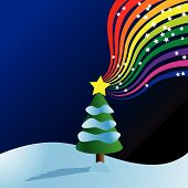 Vector - Christmas tree filled with snow and star burst rainbow. poster