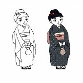 Hand drawn vector illustration of a cute curvy girl dressed in Japanese kimono with polka dots, holding small handbag, with flower in her hair, in zori sandals. Postcard, poster, sticker, T-shirt print. poster