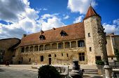 Castle of Henry IV in Nerac, ancient French town on the Baise River, tourist destination poster