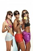 three girls at a party, studio portrait poster