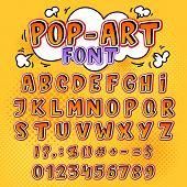 Comic font vector cartoon alphabet letters in pop art style and alphabetic text icons for typography illustration alphabetically popart typeset of abc and numbers background. poster