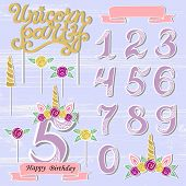 Vector set with Unicorn Tiara, Numbers, Horn, flower. Unicorn Party handwritten lettering as patch, stick cake toppers, laser cut plastic, wooden toppers. Props for baby birth, Unicorn, Birthday party poster