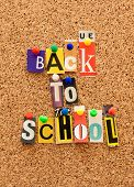 Bulletin board pinned pin pushpin word cut out back to school poster