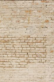 Old Painted Brick Wall, Background Texture, Close-up