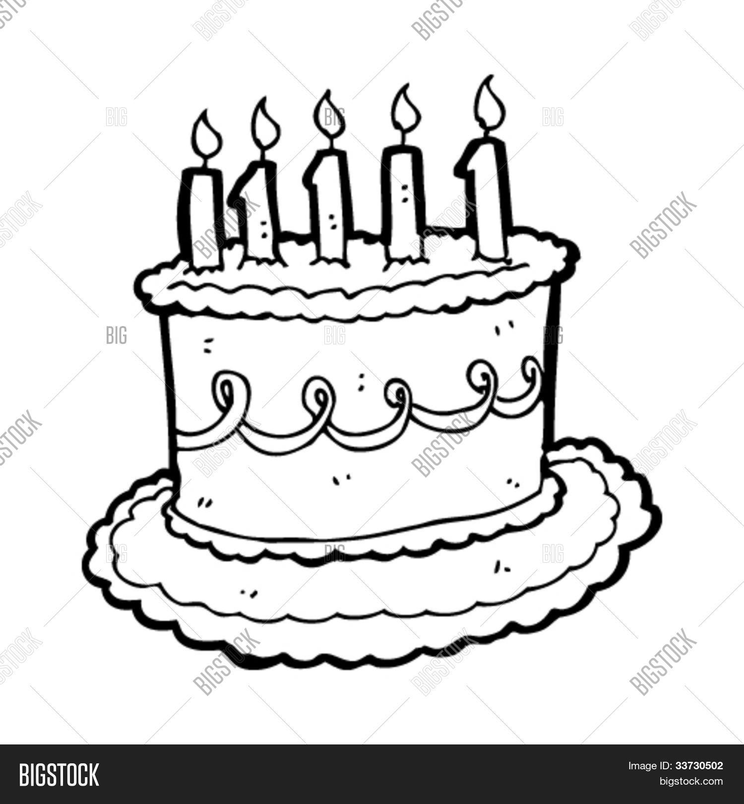 Cartoon Birthday Cake Vector Photo Free Trial Bigstock