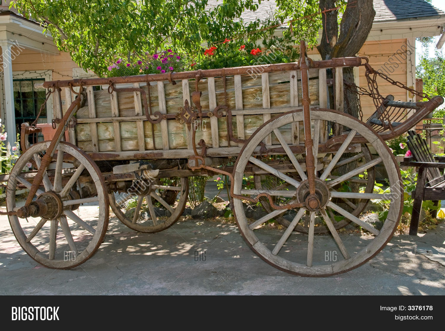 Antique Wooden Wagon Image Photo