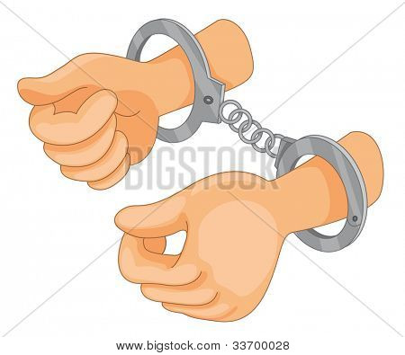 Illustration of hand cuffs with hands - EPS VECTOR format also available in my portfolio.