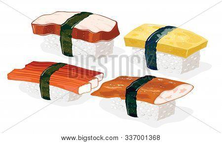 Tako, Kani, Unagi And Tamago Sushi With Vinegared Rice Wrapped Around With Strips Of Nori Seaweed. S