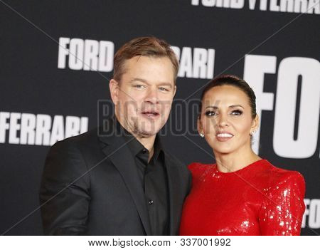 Matt Damon and Luciana Barroso at the Los Angeles premiere of 'Ford V Ferrari' held at the TCL Chinese Theatre in Hollywood, USA on November 4, 2019.
