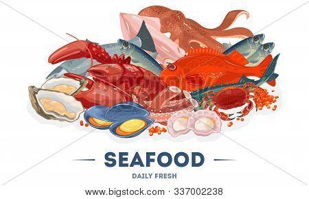 Assortment, Big Variety Of Fresh Seafood In Fish Market, Supermarket. Fishing Industry. Marine Anima