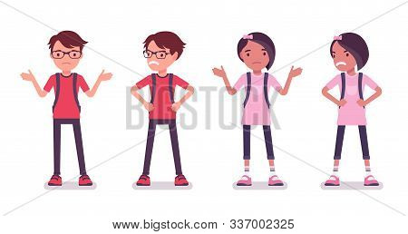 School boy, girl in casual wear feel anger, perplexity. Cute small children with rucksack, active young friend kids, smart elementary pupils between 7, 9 years. Vector flat style cartoon illustration poster
