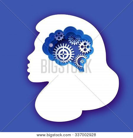 Thinking Woman In Paper Cut Style. Origami Lady Brainstorming. Brain, Gears And Cogs Working Togethe