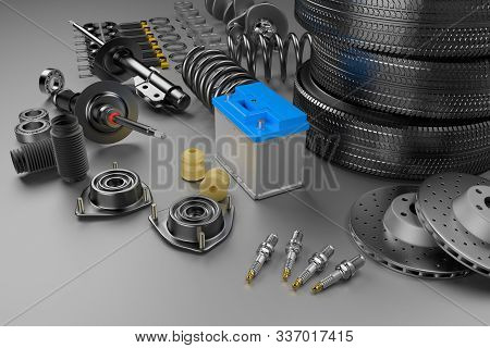 Auto Parts Spare Parts Car On The Grey Background. Set With Many New Items For Shop Or Aftermarket.