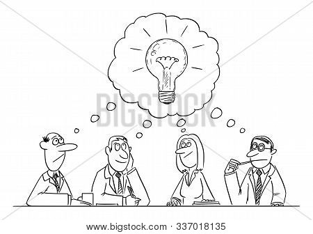 Vector Funny Comic Cartoon Drawing Of Business Team Meeting And Brainstorming. Team Is Thinking And