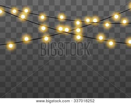 Lights Bulbs Isolated On Transparent Background. Christmas Tree Fairy Lights Wire String. Wedding Or