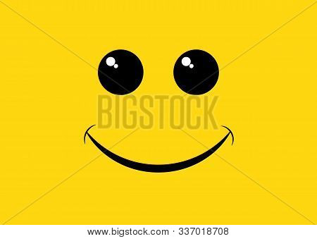 Smile Icon Logo Lettering World Smile Day On Yellow Background. World Smile Day Banner. Vector Illus