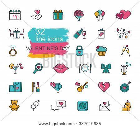Valentine Icon Set. Happy Valentine Day Related Icons