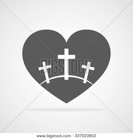 Calvary Symbol With Shape Of Heart. Vector Illustration. Gray Icon Of Golgotha