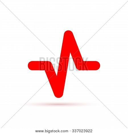 Red Heartbeat Icon. Vector Illustration. Heartbeat Sign In Flat Design. Heartbeat Isolated.