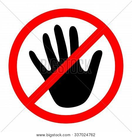 Stop Hand Symbol. Vector Illustration. Stop Sign. No Touch Icon