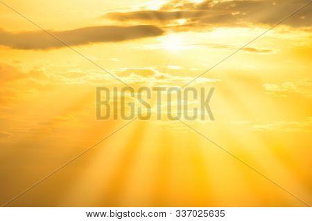 Sunset Orange Sky With Sun, Sun Rays And Clouds