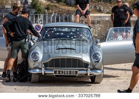 Matera, Italy - September 15, 2019: The Aston Martin Db5 Used On The Set Of The Latest James Bond Mo