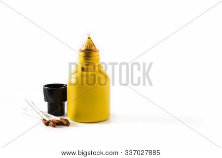 Medical Iodine In A Bottle And Gauzes Isolated On White Background.copy Space