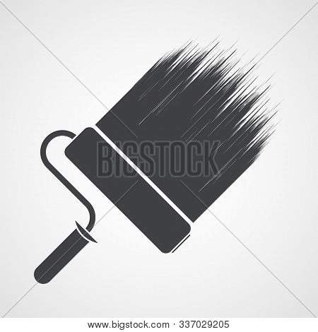 Paint Roller Icon In Flat Design. Vector Illustration. Wall Roller Paint Brush Icon Isolated