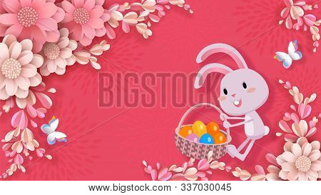 Easter Vector Banner, 3d Flowers, Cute Rabbit Drags A Basket With Colored Eggs, Butterflies. Festive