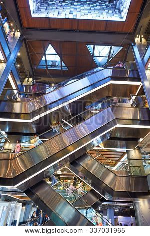 BANGKOK, THAILAND - JUNE 21, 2015: view of Siam Center Atrium. Siam Center was built in 1973 as one of Bangkok's first shopping malls.