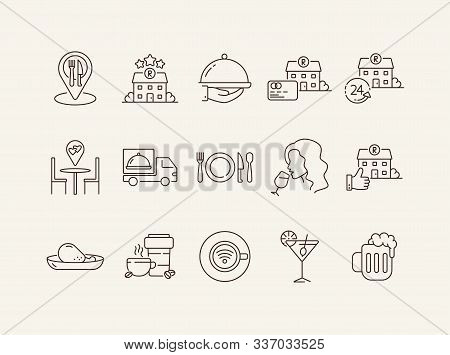 Catering Line Icon Set. Food Delivery, Dish On Hand, Best Cooking Isolated Outline Sign Pack. Restau
