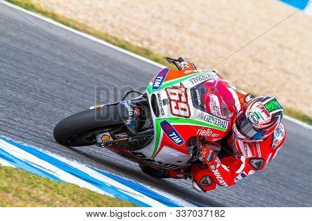 Jerez De La Frontera, Spain - Mar 25: Motogp Motorcyclist Nicky Hayden Takes A Curve In The Motogp O