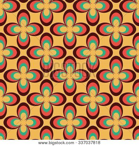 Vector Geometric Flower 70s Retro Vintage Style Seamless Pattern Background