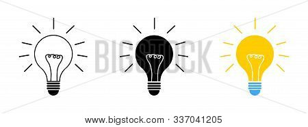 Light Bulbs Collection. Idea Symbol. Lamp Concept. Lights Bulbs Vector Icons, Isolated On White Back