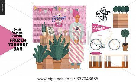 Frozen Yoghurt Bar - Small Business Graphics - Shop Owner -modern Flat Vector Concept Illustrations