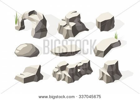 Stones Isometric. Broken Architecture Rocks Mineral Elements Stones Surface Vector Collection. Illus
