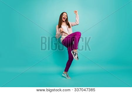 Full Length Body Size View Of Her She Nice Attractive Lovely Cheerful Ecstatic Straight-haired Girl