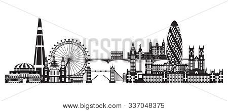 Vector Illustration Of Main Landmarks Of London. City Skyline Vector Illustration In Black Color Iso