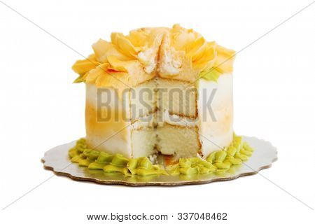 Cake. Fresh Birthday Cake. Isolated on white. Room for text. Clipping Path. Cake is enjoyed world wide for any special occasion.