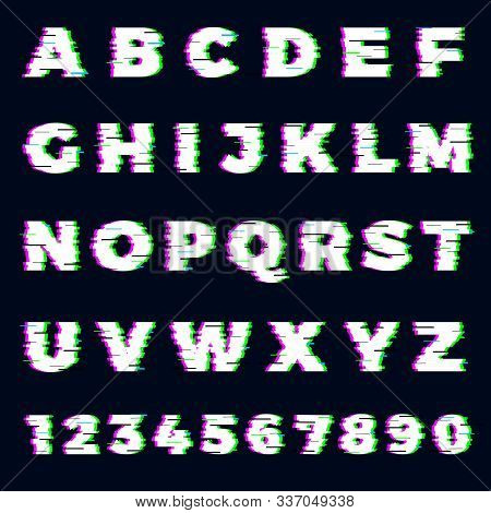 Glitch Font. Destroyer Alphabet Letters Dynamic Screen Effect Gaming Typography Font Vector Template