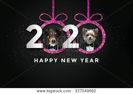 Happy New Year 2020 With Two Dogs (pink)