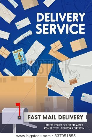 Mail Delivery, Post Office Logistics And Shipping Transportation Service. Vector Newspapers, Journal
