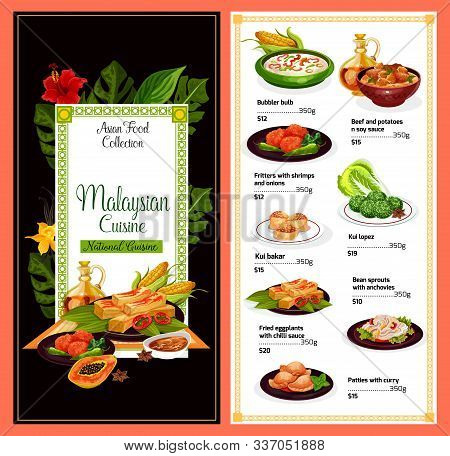 Malaysian Cuisine Restaurant Menu, Traditional Malaysia Food Dishes. Vector Dollar Price Menu For Bu