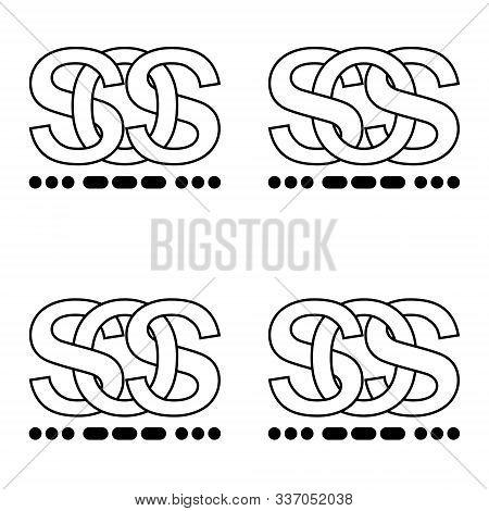 Icon Sign Sos Symbol Interlaced Letters S O S Sign Morse Code. Illustration Sticker Sign Symbol Sos